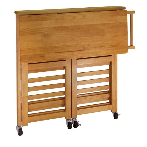 Winsome Wood Foldable Kitchen Cart with Knife Block, Light Oak - smallkitchenideas.us