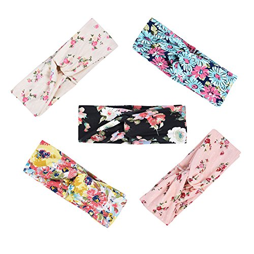 iShine 5 Pack Women Headband Boho Floal Style Criss Cross Head Wrap Hair Band