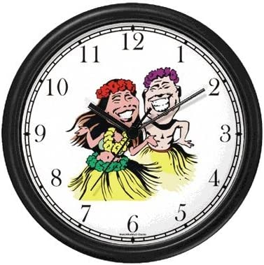 WatchBuddy Polynesian Man and Woman in Grass Skirts Hula Dancing, Dancers – Hawaiian Theme Wall Clock Timepieces Black Frame