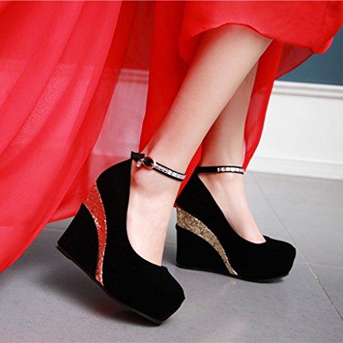 Primavera De Lentejuelas Boca Mujer Redonda Cabeza Negro Poco Otoño PU Zapatos Rhinestone Tacones Profunda Pendiente C1wxBCq