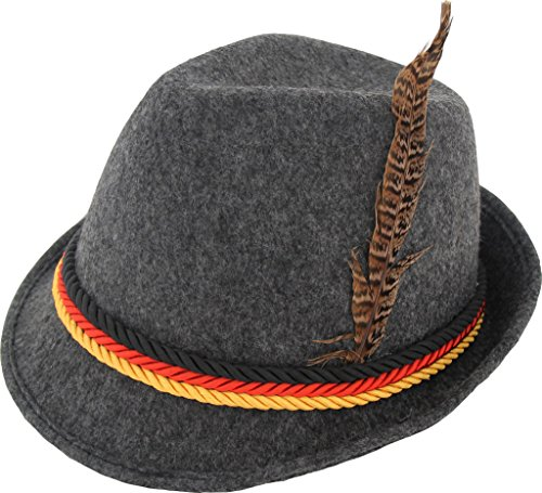German Alpine Bavarian Oktoberfest Grey Costume Hat with Feather (Grey)