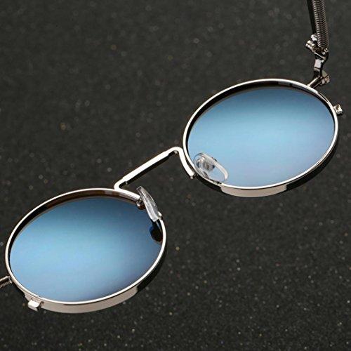 hombres Steampunk metálico de inspirado G sol polarizadas para Gusspower círculo y mujers retro gafas estilo redondo aq77xF4