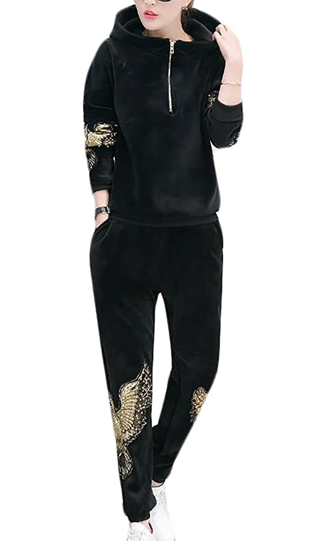 Bigbarry Womens Velour Embroidery 1//4 Zip Hooded Top Thicken Tracksuit