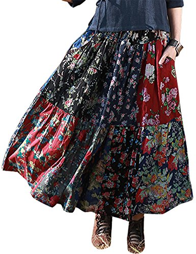 Patchwork Skirt Pattern (IDEALSANXUN Women's Spring/Summer Floral Pleated Retro A-Line Cotton Linen Long Maxi Skirt (#2 Flower Patchwork, One Size(2-10)))