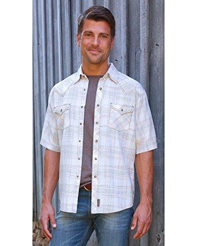 Wrangler Men's Retro Plaid Snap Short Sleeve Shirt, Off White/Brown, S (Snap Shirt Retro Western)