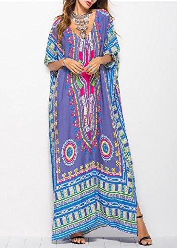 Coolred-femmes Taille Plus Mode Impression Africaine Maxi Dashiki Gris Robe Longue