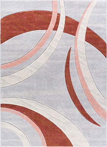 Well Woven Faith Shapes Dusty Red Pink Grey Modern Geometric Hand Carved 8×10 7'10″ x 9'10″ Area Rug Easy to Clean Stain Fade Resistant Thick Soft Plush