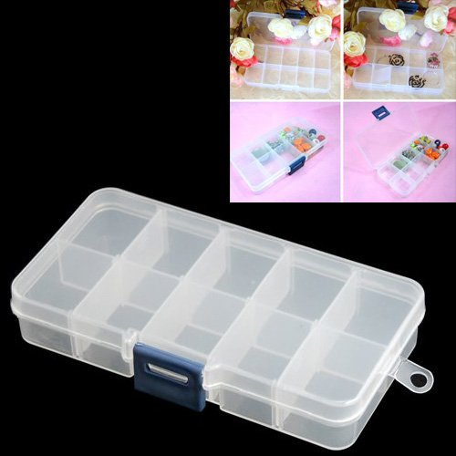 Craft Jewelry Art (TOOGOO(R) 1 - 10 Adjustable Clearly Compartment Crafts Plastic Storage Stock Case Box for Barrette Bead Jewellery Findings Nail Art Craft Tool Small Accessories - visually adjustable clearly storage box)