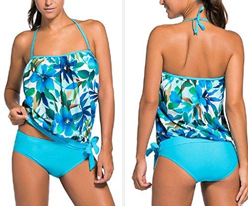 pezzi Donne XXXL bagno S juqilu Donna Swimsuit Set Due Estate Tankini Sexy Beachwear Set Spiaggia Up Costumi Bikini sportivo Blu da Push da bagno Costume wFBqw5r