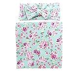 Ufraky Newborn Infant Baby Photography Prop Costume Floral Headband Swaddle Blanket Set (Green)