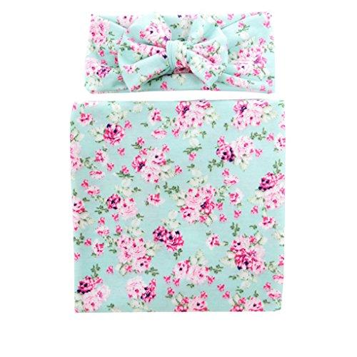 Ufraky Newborn Infant Baby Photography Prop Costume Floral Headband Swaddle Blanket Set (Green) by Ufraky