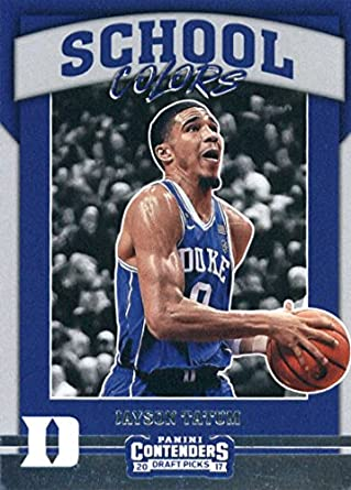 2017-18 Panini Contenders Drafts Picks School Colors  5 Jayson Tatum Duke  Blue Devils 69e8e6290