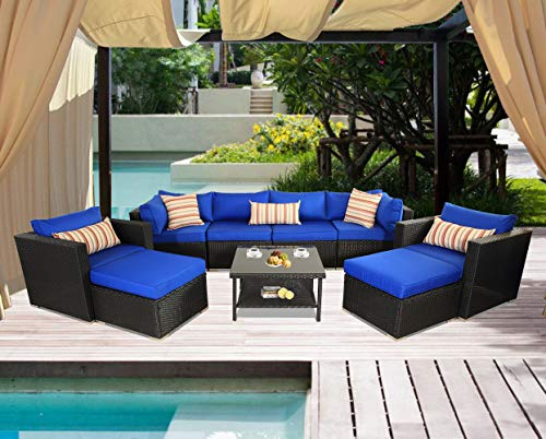 Leaptime Patio Sofa Sectional Outdoor Couch Set 9-Piece Garden Seating Black Rattan Royal Blue Cushion