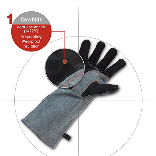 Sunlive Leather Welding Gloves Mitts for Fireplace/Stove/Pot Holder/Tig Welder/Mechanical Processing/Oil Field/Oven/Gill/BBQ-Soft Cotton Lining with 16.5 inches long sleeve Work Gloves by SunLive