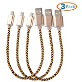 samsung 21 pin car charger - HTTX [3-Pack] Micro USB to USB Cable Data Sync and Charging 5 Pin Cable, Metal Plug & Mixed Color Cotton Jacket, A Male to Micro B 8-inch Short Cable -Gold
