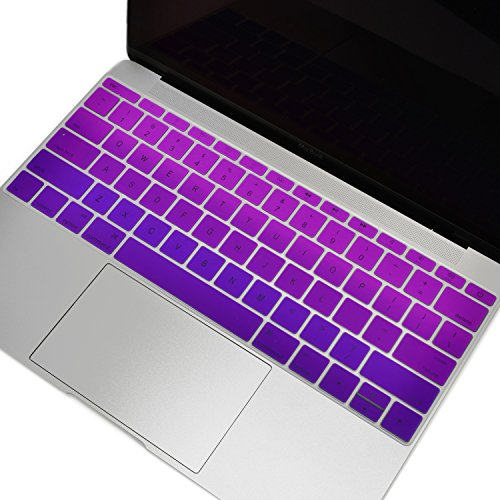 TOP CASE - Faded Ombre Series keyboard Cover Silicone Skin Compatible with MacBook Pro 13 inch A1708 (No TouchBar) Release 2017 & 2016 / Macbook 12-inch Retina A1534 - Purple/Deep Purple