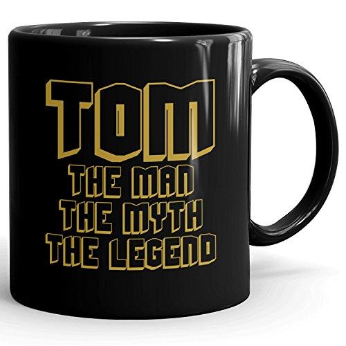 Custom Tom Gift - The Man The Myth The Legend - Coffee Mugs for Men, Husband, Father, Boyfriend - 11oz Black Mug - Gold Black 1