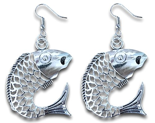 Jumping Salmon Fish Silver Tone Dangle Earrings by Pashal