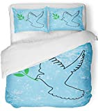 Emvency 3 Piece Duvet Cover Set Breathable Brushed Microfiber Fabric Hope Dove Outline with Olive Branch Peace Animal Beauty Bird Black Christian Bedding Set with 2 Pillow Covers Full/Queen Size