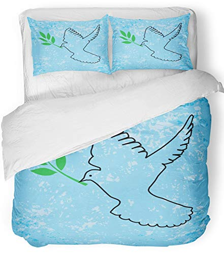 Emvency Bedsure Duvet Cover Set Closure Printed Decorative Hope Dove Outline with Olive Branch Peace Animal Beauty Bird Black Christian Breathable Bedding Set With 2 Pillow Shams Full/Queen Size by Emvency