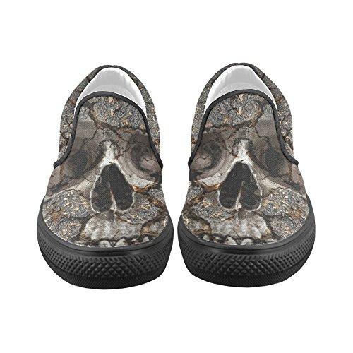 D-story Anpassade Skallen På Spruckna Vägg Mens Slip-on Canvas Skor Mode Sneaker
