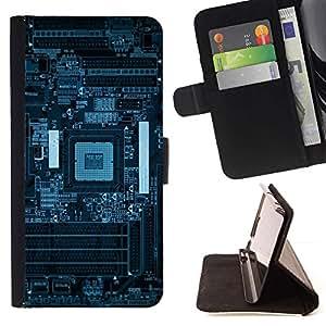 Momo Phone Case / Flip Funda de Cuero Case Cover - Azul PCB Junta Esquemas;;;;;;;; - LG G2 D800