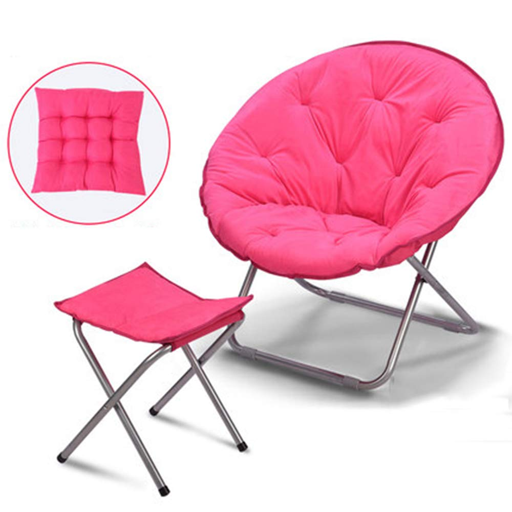 Pink + cushion + footstool Large Lazy Chair Moon Chair Folding Recliner Dormitory Chair Lunch Break Lazy Couch Chair Sun Lounger Leisure