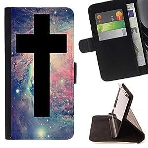 Super Marley Shop - Funda de piel cubierta de la carpeta Foilo con cierre magn¨¦tico FOR Samsung Galaxy S5 V SM-G900 G9009 G9008V- OMG God Cross Jesus Space
