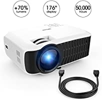 DBPOWER T22 HD Proyector de vídeo 2200 lumens SOPORTA 1080p con entrada de cable HDMI AV para Home Cinema Teatro Multimedia TV portátil Game SD iPad iPhone Smartphone Android, Blanco