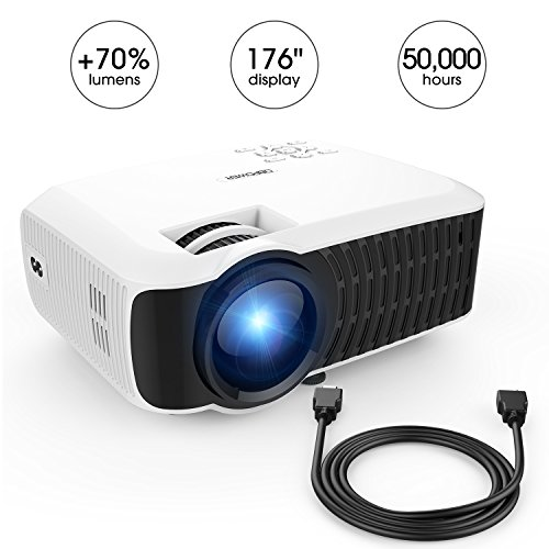 DBPOWER 2400 Lumen Projector, Upgraded T22 LCD Video Projector Support 1080P with Free HDMI Cable Compatible with TV Stick Laptop PC iPhone iPad Smartphone for Multimedia Home Cinema Theater-White