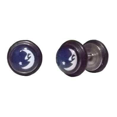 Cameleon-Shop-Pendientes de falsos Dilatador Plug, acero inoxidable y caucho, diseño de luna y estrella, 8 mm: Amazon.es: Joyería