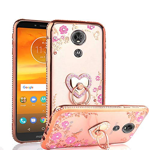 CASEHAVEN Moto E5 Plus Case, Moto E5 Supra Case, Glitter Crystal Heart Floral Series - Slim Luxury Bling Rhinestone Clear TPU Phone Case with Ring Stand - Rose Gold