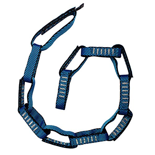 "Fusion Climb 12 Loop Individual Loop Daisy Chain 5000 lb Test Stitched Nylon Webbing 45"" x 0.75"" Blue/Black"