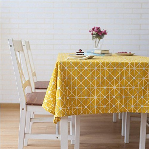 Meiosuns Tablecloths Cotton Linen Rectangle Table Cloth,Newest Design Hotproof Tablecovers for Indoor and Outdoor (Yellow, 55