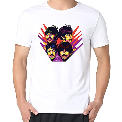 JUST Men's Swpap Retro Classic Rock Band The Beatles T-Shirts White XL