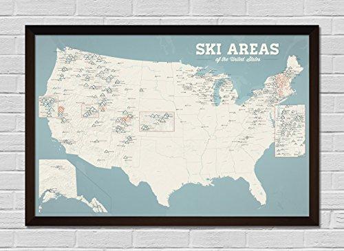 US Ski Resorts Map FRAMED 24x36 Poster (Beige & Opal Blue | (Bohemia Walnut)