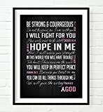Be Strong & Courageous- Breast Cancer Awareness Encouragement Art Print, UNFRAMED, Pink Survivor Bible Verse Scriptures poster gift for her, 8x10 inches