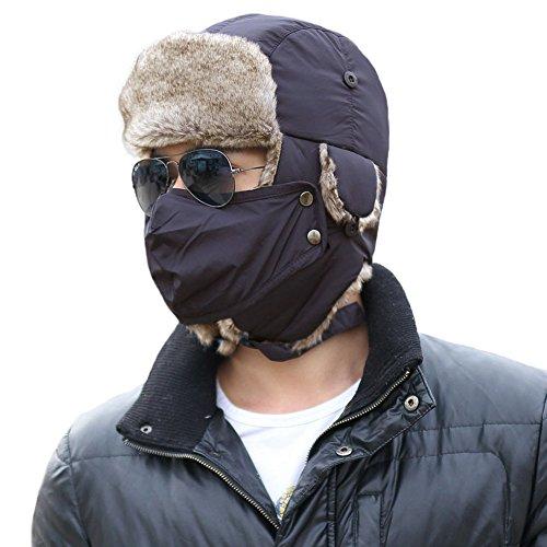 (SIGGI Winter Navy Ushanka Russian Trapper Bomber Hat for Men Fur Lined Windproof Mask )