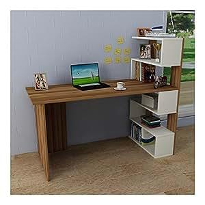 deluxe escritorio nogal blanco mesa de ordenador