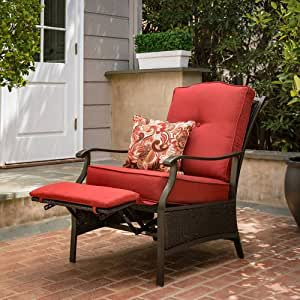 Outdoor Powder Coated Steel Frame Recliner in Red with 1 Decorative Pillow