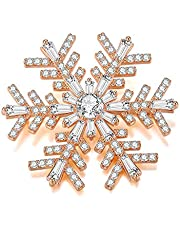 Italina Women Weather Snowflake Brooches Jewelry Fashion Cubic Zirconia Inlaid Wedding Brooch Pins Rhodium/Rosegold/Gold Plated