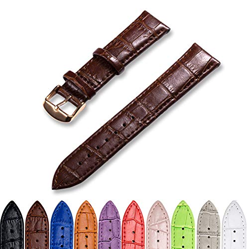 CIVO Genuine Leather Watch Bands Top Calf Grain Leather Watch Strap 16mm 18mm 20mm 22mm 24mm for Men and Women (Dark Brown Band/Rose Gold Buckle, 24mm) (Genuine Calf Leather Watch Band)