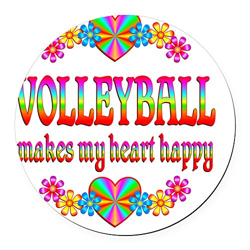 CafePress - Volleyball Round Car Magnet - Round Car Magnet, Magnetic Bumper -