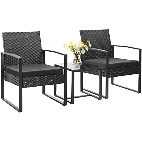 Homall 3 Pieces Patio Furniture Sets Clearance Bistro Set Patio Conversation Sets Wicker Outdoor Furniture Coffe Table with Tempered Glass (PE Rattan, Black)