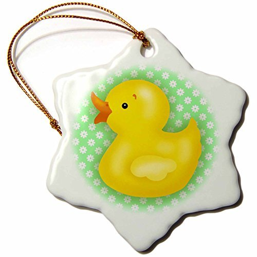 OneMtoss Russ Billington Nursery Designs Yellow Bath Duck Over Green and White Floral Pattern Snowflake Porcelain Ornament
