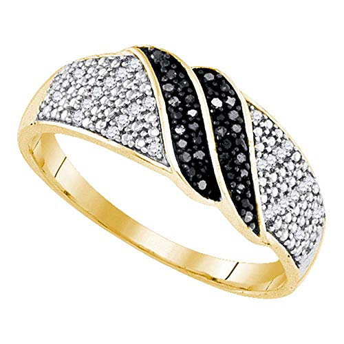 925 Sterling Silver Black Diamond Stripe Ring Cocktail Band Fashion Two Ribbon Style Round Pave Womens Fancy .15 ct