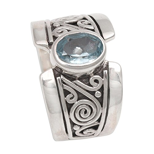 NOVICA Blue Topaz .925 Sterling Silver Artisan Crafted Band Ring, ()