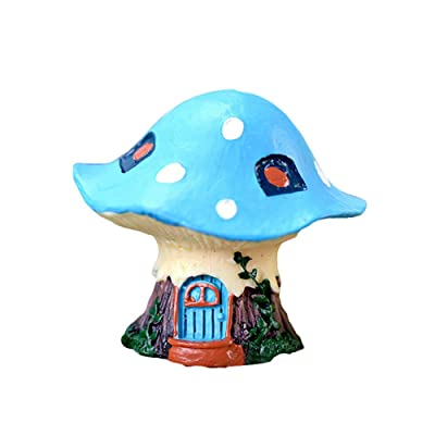 guohanfsh Mushroom Fairy Garden House Statue Accessories Fairy Garden Cottage Figurines Sculptures for Outdoor Decoration Resin Crafts Blue : Garden & Outdoor