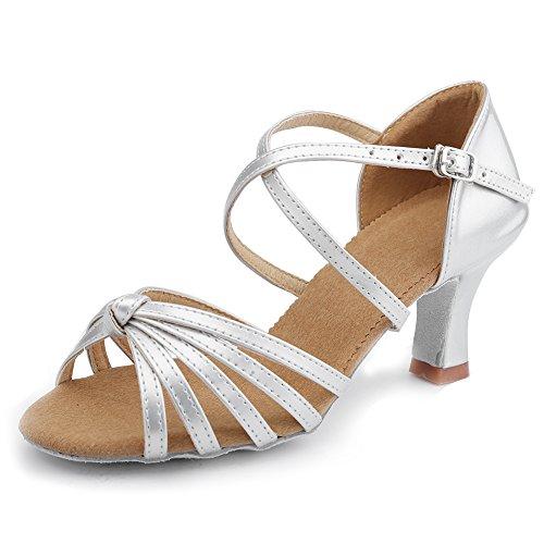 Punta WZJ de 7cm Modelo Plateado Zapatillas Latino Abierta de HIPPOSEUS Mujer Tiras Baile salón Cl Cruzadas w7R1wzxqI