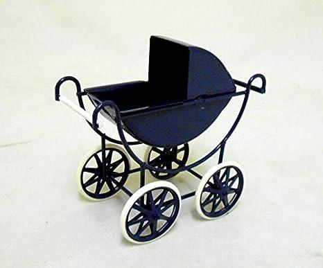 Amazon.es: Miniatura Para Casa De Muñecas 1:12 Escala Muebles De bebés Azul marino y crema de bebé Silla de paseo: Juguetes y juegos